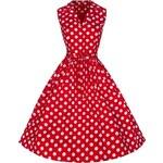 MATILDA červené puntíkované šaty ve stylu padesátých let