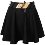 Topshop **Black Swing Skirt With Gold Trim Belt by Rare