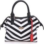 Bílo-černá pruhovaná kabelka s popruhem Lipsy