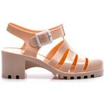 VICES Fantastické béžové gumové sandály na podpatku - PT37BE