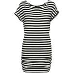 Tally Weijl Black & White Striped T-Shirt Dress