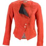 Glam Dámská semišová bunda se zlatými aplikacemi - oranžová - S