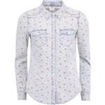 Krémová květovaná košile s denim deataily Vero Moda Vera