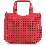 Červený perforovaný shopper Milan Fashion