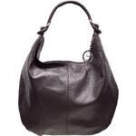 Glamorous by Glam Kožená kabelka přes rameno s kruhy - tmavě hnědá