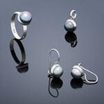 Buka Jewelry Buka Set Buka Tiga (náušnice, přívěsek a prsten) – šedá 845