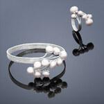 Buka Jewelry Perlová souprava Buka Peacock (perlový náramek a prsten s perlou) – růžová 861