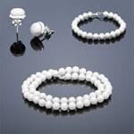 Buka Jewelry Sada perlových šperků BUKA náramek, náhrdelník a vpichovací náušnice Buka – bílá 808