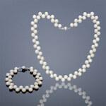 Buka Jewelry BUKA Perlová souprava Button (perlový náhrdelník a náramek) - bílá 863