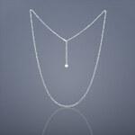 Buka Jewelry Buka Stříbrný řetízek s bílou perlou - 780