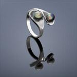 Buka Jewelry Buka Perlový prsten Drop – černá 441