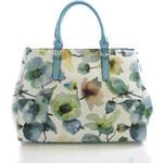 Tyrkysová květovaná kabelka Delami D597 tyrkysová