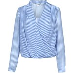 Tally Weijl Blue & White Striped Wrap Over Blouse