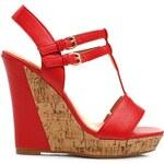 WILADY Pohádkové červené sandály na vysokém klínku - 929-85R