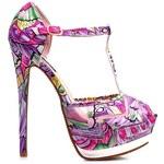 SERGIO TODZI Bombastické fialové sandálky s pestrým vzorem - RMD994R
