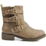 CNB Úchvatné khaki kotníčkové boty s přezkami - C40KH