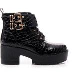 SERGIO TODZI Černé rockerské kotníčkové boty se zlatými ozdobami - JU583BCR