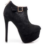SERGIO TODZI Černé ažurové kotníčkové boty na jehlovém podpatku - RMD1175B