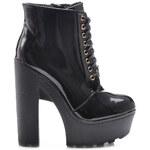 SERGIO TODZI Famózní lakované černé kotníčkové boty se šněrováním - BS070BSH