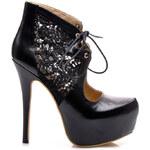 SERGIO TODZI Velkolepé černé kotníčkové boty s krajkou - Z023B