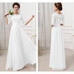 LM moda Bílé plesové šaty dlouhé s krajkou