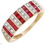 Prsten s rubíny a diamanty