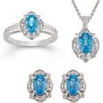 Stříbrná souprava šperků s modrými topazy
