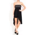 Glamorous by Glam Společenské krátké šaty bez ramínek - stříbrná