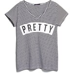 Violeta BY MANGO Streifen-T-Shirt Mit Schriftzug