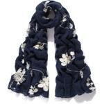 Intrigue Vyšívaný šátek, šátek na krk s vyšívanými květinami INTRIGUE