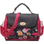 Taška přes rameno s květinovým potiskem, Kaytie Wu černá+pink