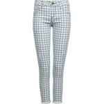 Tally Weijl White & Blue Push Up Gingham Skinny Pants