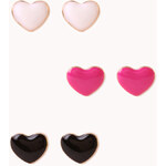 Forever 21 Lacquered Hearts Stud Set