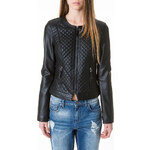 Tally Weijl Black Quilted Leather-Like Biker Jacket