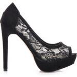 Hshoes Krajkové lodičky open toe černé Velikost: 40/25 cm