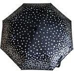 Susino Deštník automatický černý se stříbrnými puntíky