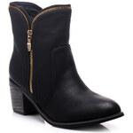 Perfect shoes Nízké cowboy kozačky se zipy černé Velikost: 39/25,5 cm