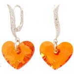 Stříbrné náušnice s krystaly Swarovski Truly Heart