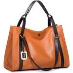 NUCELLE dámská kožená kabelka Contrast oranžová