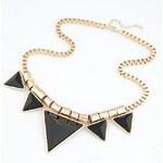 FJ Černo zlatý trojúhelníkový náhrdelník