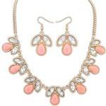 FJ Růžový kamínkový náhrdelník a naušnice