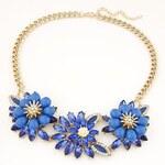 FJ Modrý náhrdelník ve tvaru květin s kamínky