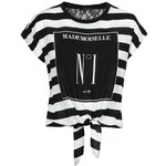 Tally Weijl Black & White Striped Boxy Top with Slogan