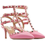 Valentino Rockstud Leather Kitten Heel Pumps