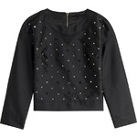 Karl Lagerfeld Satin Twill Top with Sequin Embellishment