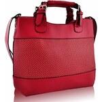 Červená perforovaná kabelka LS fashion LS00268 červená