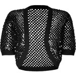 Michael Kors Cashmere Open Knit Bolero with Sequin Embellishment