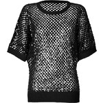 Michael Kors Cashmere Open Knit Top with Sequin Embellishment