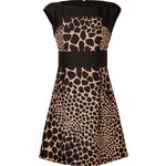 Michael Kors Wool Animal Print Fit and Flare Dres