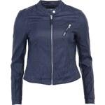 Tmavě modrá koženková bunda Vero Moda Irina